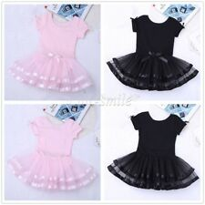 Girl Gymnastics Princess Ballet Dance Dress Leotard Mesh Skirt Dancewear Costume