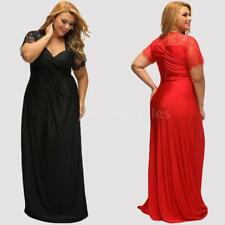 Ladies Sexy Deep V Neck Elegant Party Dress Lace Long Maxi Dress Women Prom Gown
