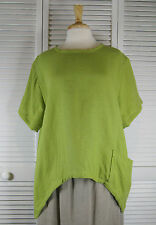 Sequel Short Sleeve Flax Linen Top in 18 Colors S M L XL by Blue Fish Red Moon