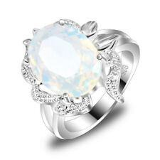 Particular Jewelry Oval Rainbow Moonstone Gems Silver Wedding Ring Size 7 8 9