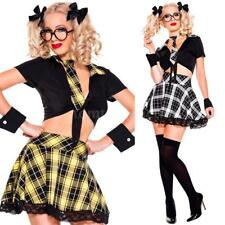 Schoolgirl Halloween Costume Outfit Uniform Crop Top Skirt Plaid Checked V8A8
