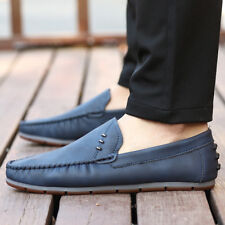 Comfy Leather Mens Loafer  Non-Slip Leisure Oxfords Moccasins Driving Shoes FE03