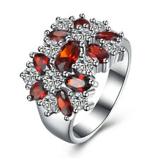 18K White Gold Plated Oval Ruby Crystal Engagement Ring Women Jewelry R052