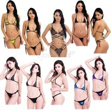 Sexy Women Bikini Swimsuit Swimwear Set Halter Neck Top with G-string Beachwear