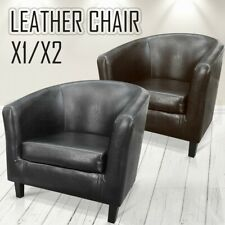 Modern Designed Faux Leather Lounge Arm Tub Chair Sofa Seat Home Furniture BK/BN