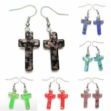 Gold Foil Cross Lampwork Glass Murano Art Beads Pendants Fashion Dangle Earrings