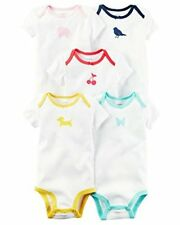 New Carters Girls 5 Pack Original Short Sleeve Bodysuits One Piece Size 24 Month