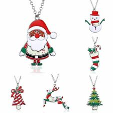 New Fashion Women Colorful Christmas Trees Santa Claus Pendant Necklace Jewelry