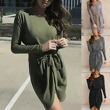 Long sleeve Womens bodycon Fashion Belt Slim Fit Dress Lady irregular Dresses