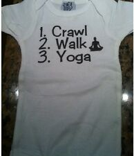 Crawl walk infant yoga shirt baby outfit clothes funny one piece new bodysuit