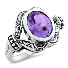 COLOR CHANGING 3 CT LAB ALEXANDRITE 925 STERLING SILVER ANTIQUE STYLE RING,#1076