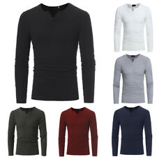 Men V Neck Slim Fit Casual T-Shirts Solid Male Stretch Long Sleeve Tops Pullover