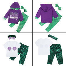 Baby Little Mermaid Costume Toddler Girl Kids Tops Pants Headband 3Pcs Outfits