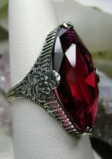 13ct Mq *Ruby* Victorian Floral Filigree Sterling Silver Ring {Made To Order}