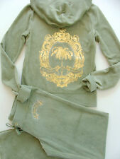 Juicy Couture Tracksuit Iconic Palm Velour Hoodie Pants Olive Track Set Small S