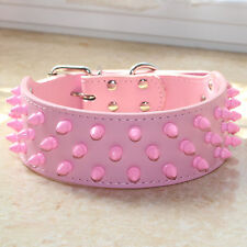 Pink Leather Pet Dog Collar Pink Spiked Studded Big Dog Collar Pitbull Terrier