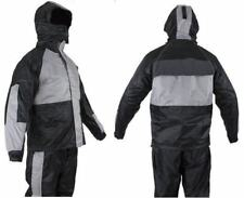 Two-Piece Black & Translucent Gray Rain Suit w/Zippered Side Seams Waterproof