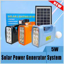 5W Portable Home Outdoor Solar Panel Lighting Charging Power Generator System