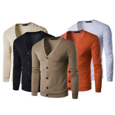 Men Slim Fit Casual Knitting Sweater Cardigan Button Deep V-Neck Coat Jumper