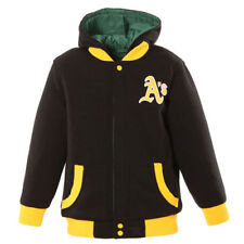 JH Design Oakland Athletics Toddler Black/Green Fleece Hooded Reversible Jacket