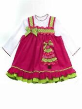 Rare Editions Girls Corduroy Christmas Tree Holiday Jumper Dress 2 Pc Set