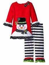Rare Editions Girls Smiling Snowman Christmas Holiday Outfit Leggings