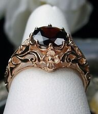 1.6ct Natural Red Garnet 14k Solid Rose Gold Filigree Daisy Ring {Made To Order}