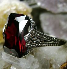 10ct *Red Garnet* Sterling Silver Gothic Design Filigree Ring {Made To Order}