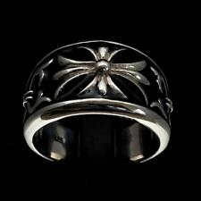 STERLING SILVER MENS MEDIEVAL KING RING FLEUR DE LIS LILY BLACK ENAMEL ANY SIZE