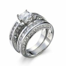 925 Silver Sterling ICED OUT Simulated Lab Diamond Band MICROPAVE Womens Ring