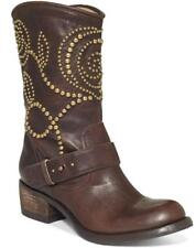 NEW WOMENS GUESS ESPERANZ LEATHER STUDDED WESTERN MID CALF BROWN BLACK BOOTS