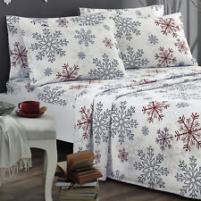 Brielle Fashion Flannel Red Snowflake Design Sheet Set NEW