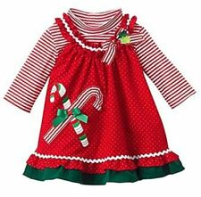 Rare Editions Girls Red Christmas Candy Cane Holiday Corduroy Jumper Dress