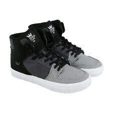 Supra Vaider Boys Gray Textile High Top Lace Up Sneakers Shoes