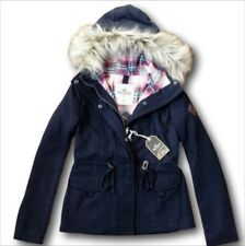 NWT Hollister-Abercrombie Wool Anorak Jacket Plaid-Lined Coat Navy XS/S/M/XL