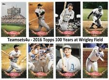 2016 Topps 100 Years At Wrigley Field Baseball Set ** Pick Your Team **