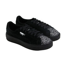 Puma Platform Crushed Gem Womens Black Suede Lace Up Sneakers Shoes