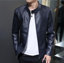 Mens Stand Collar Slim Fit PU Leather Short Jacket Zip Waist Length Outwear Coat