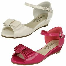 GIRLS SPOT ON SYNTHETIC PATENT WITH GLITTER WEDGE SANDALS STYLE - H1077