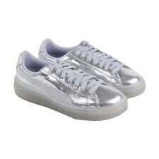Puma Basket Platform Ns Womens Silver Canvas Lace Up Sneakers Shoes