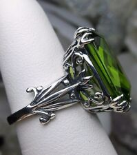 13ct*Peridot* Sterling Silver Floral Luv Leaf Filigree Ring Size {Made To Order}