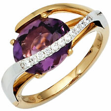 Ladies Ring Amethyst Purple & 11 Diamond 585 Gold Yellow/White
