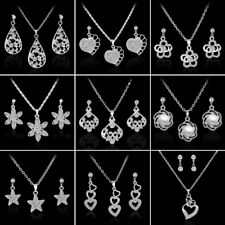 Fashion Women's Wedding Bridal Cystal Rhinestone Necklace Earrings Jewelry Set