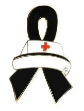Black Ribbon Nurse Cap Awareness Pin Melanoma Gang Prevention Cancer Cause New