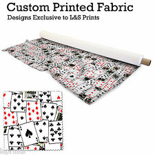 PLAYING CARDS PRINTED FABRIC LYCRA SATIN JERSEY SPANDEX FROM PER METRE