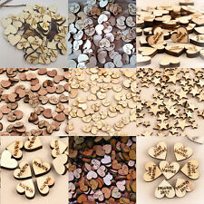 Love Heart 100pcs Rustic Wooden Wood Wedding Table Scatter Decoration Crafts CHI