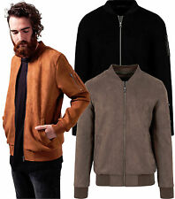 Urban Classics Men Bomber Jacket College Jacket Suede Leather Bomber Jacket 1394