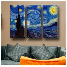 READY TO HANG CANVAS Starry Night Vincent Van Gogh 3 Panels Framed Print Giclee