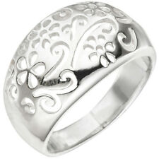 Ring Flower Design Domed 925 Silver Rhodium-plated Finger Jewellery