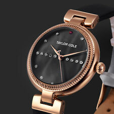 Taylor Cole Crystal Bling Women's Analog Leather Band Round Quartz Wrist Watch